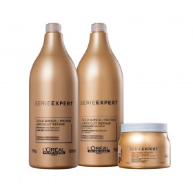 KIT L'ORÉAL PROFESSIONNEL SERIE EXPERT ABSOLUT REPAIR LIGHT GOLD QUINOA + PROTEIN SHAMPOO 1500ML E CONDICIONADOR 1500ML MASCARA LIGHT 500GR
